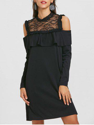 Outfit Long Sleeve Cold Shoulder Lace Yoke Dress