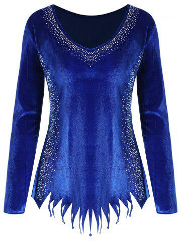 Cheap Rhinestone Velvet Fringed Plus Size Tee