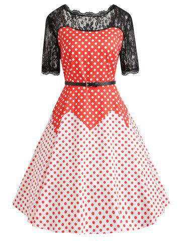 Online Plus Size Color Block Polka Dot Vintage Gown Dress