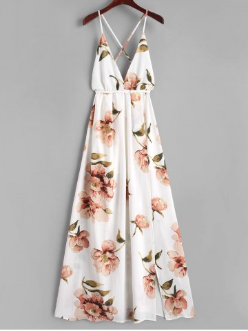 Affordable Criss Cross Slit Floral Maxi Dress