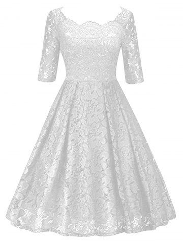 White S Vintage Lace Party Pin Up Dress | RoseGal.com