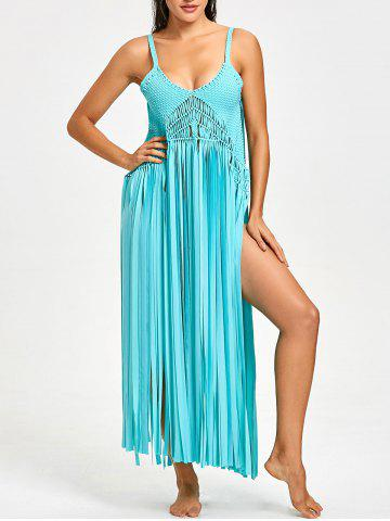 Sale Fringed Crochet Knit Cover-up with G-string
