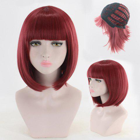 Fashion Short Neat Bang Straight Bob Cosplay Synthetic Wig