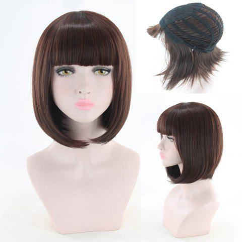 Outfit Short Neat Bang Straight Bob Cosplay Synthetic Wig