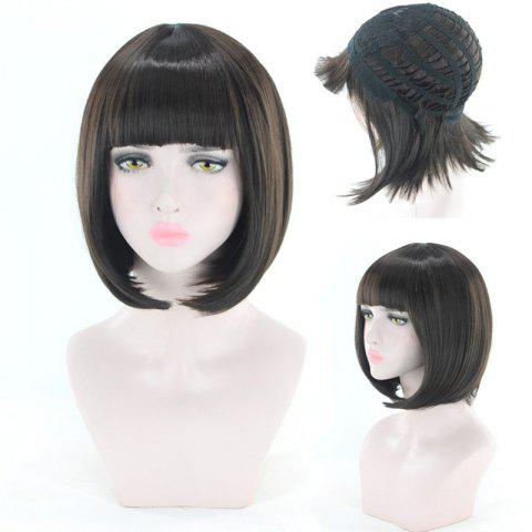 Chic Short Neat Bang Straight Bob Cosplay Synthetic Wig