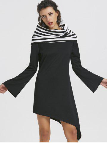 Long Sleeve Striped Panel Asymmetric Convertible Dress
