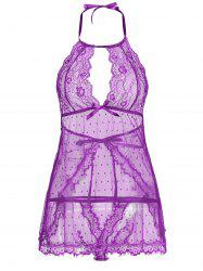 Back Split Lace Sheer Lingerie Dress -