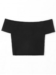 Plain Off The Shoulder Cropped Knitwear -