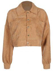 Button Up Corduroy Crop Jacket -