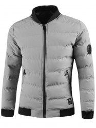 Zip Up Patched Design Padded Jacket -