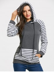 Stripe Panel Raglan Sleeve Kangaroo Pocket Hoodie -
