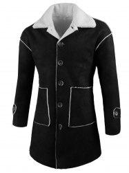 Front Pockets Single Breasted Faux Sheepskin Coat -
