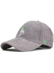 Phoenix Bird Embroidery Adjustable Corduroy Baseball Hat -