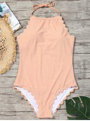 One Piece Scallop Trim Swimsuit -