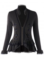 Plus Size Criss Cross Lace Trimmed Jacket -