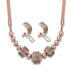 Hollow Out Beads Statement Pendant Necklace with Earrings -