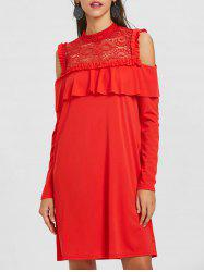 Cold Shoulder Ruffle Lace Trim Dress -
