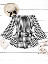 Plaid Off Shoulder Belted Mini Dress -
