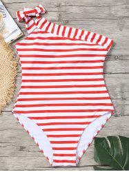 Skew Collar Striped  Swimsuit -