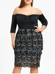 Plus Size Sequined Fish Scale Evening Dress -