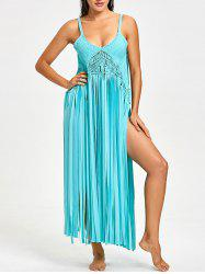 Fringed Crochet Knit Cover-up with G-string -