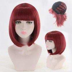 Short Neat Bang Straight Bob Cosplay Synthetic Wig -