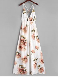 Criss Cross Slit Floral Maxi Dress -