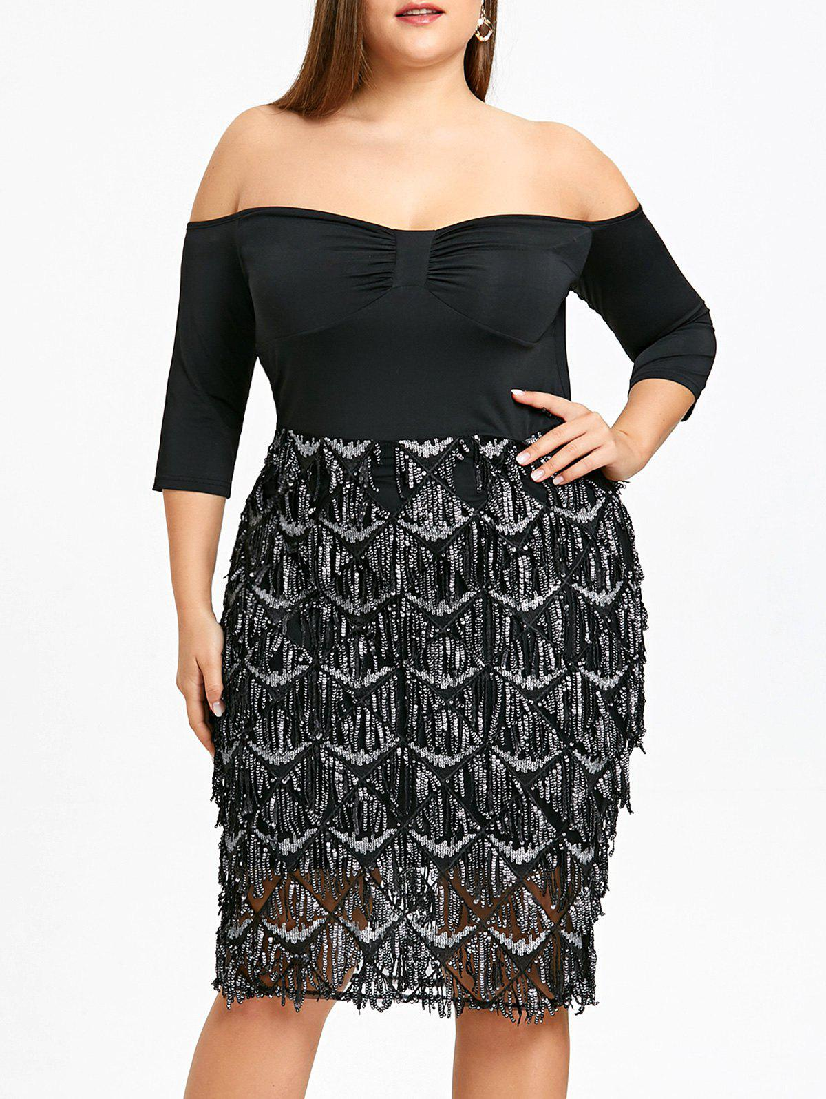 Online Plus Size Sequined Fish Scale Evening Dress