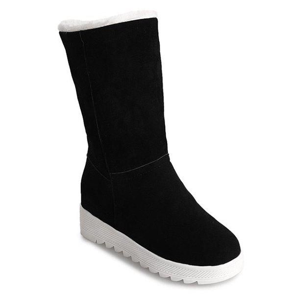 Cheap Fold Over Low Heel Mid Calf Boots