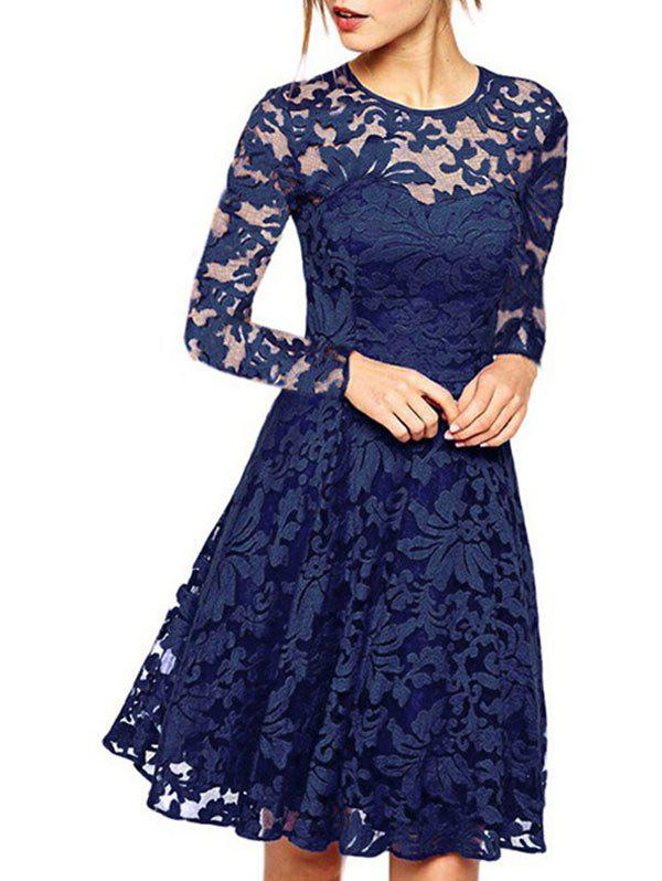 Online Long Sleeve A Line Lace Dress