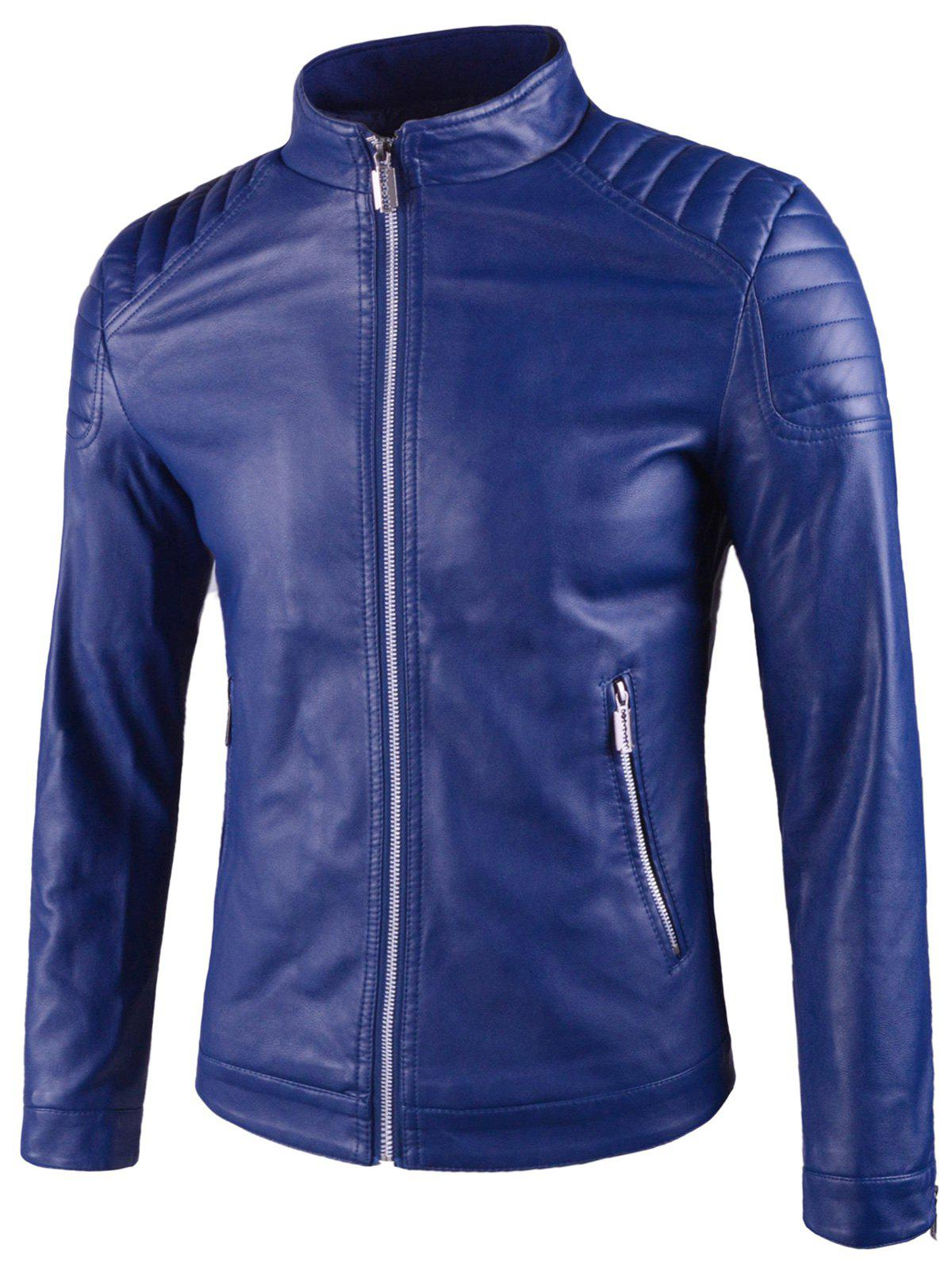 2019 Padded Shoulder Stand Collar Faux Leather Jacket