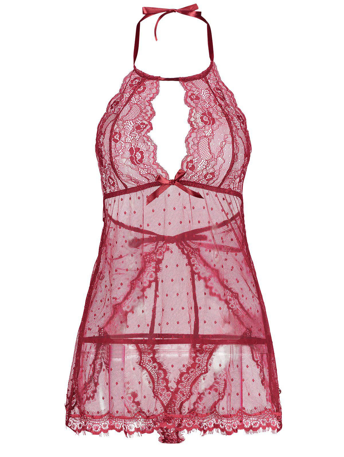 New Back Split Lace Sheer Lingerie Dress