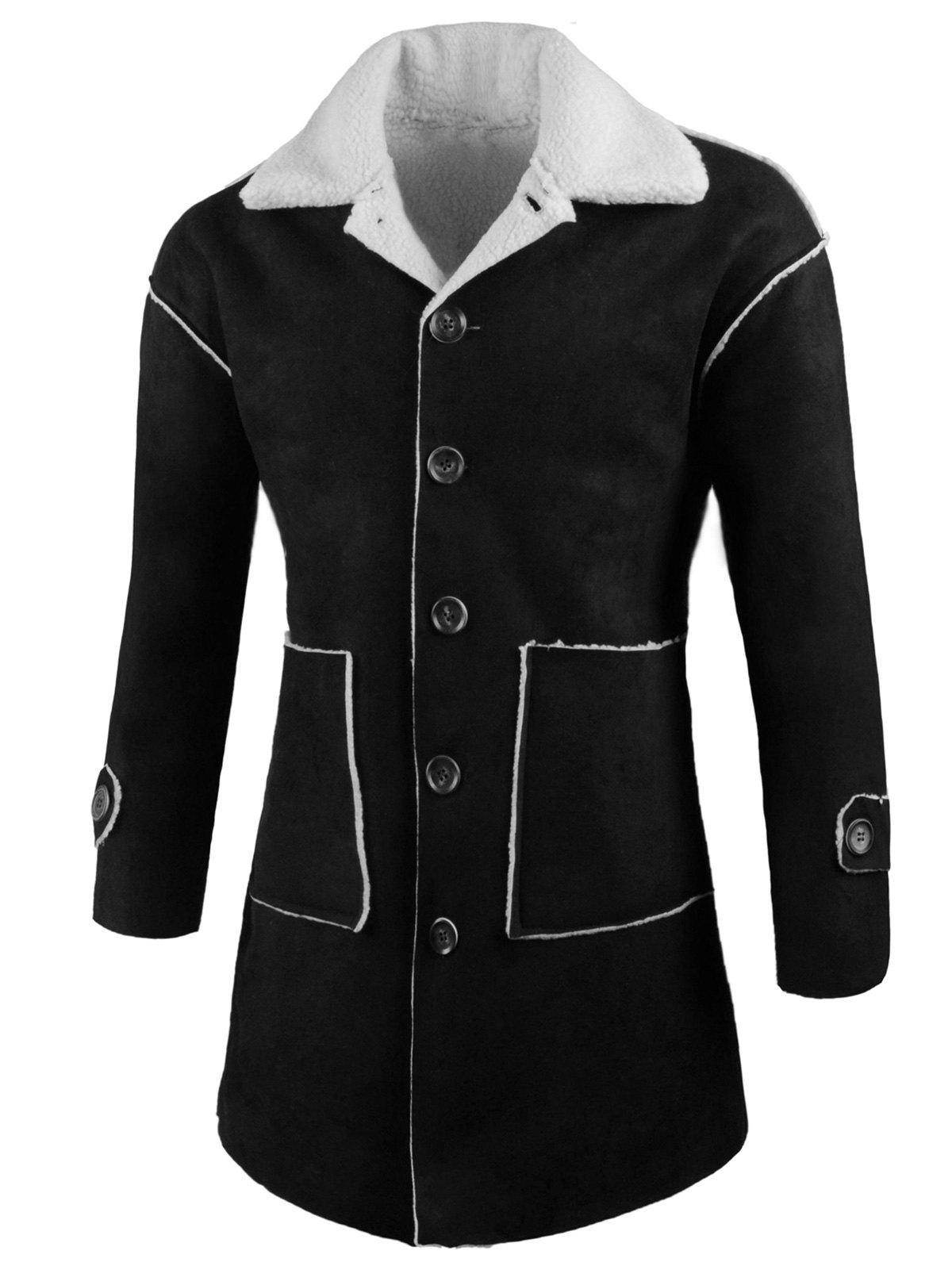 Fashion Front Pockets Single Breasted Faux Sheepskin Coat