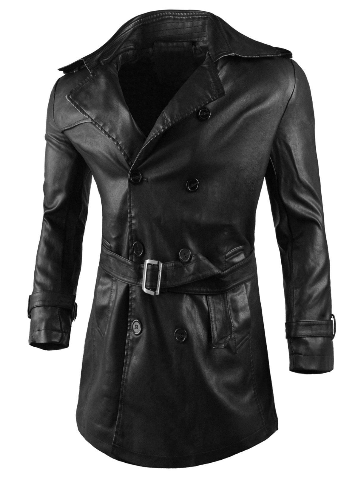 Latest Double Breasted Belted Faux Leather Trench Coat