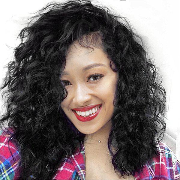 Discount Long Side Parting Fluffy Water Wave Lace Front Synthetic Wig