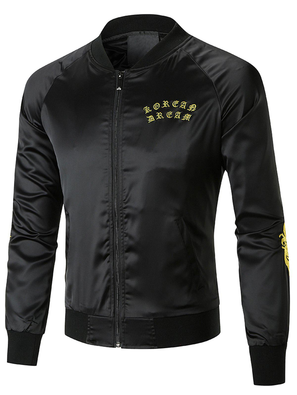 Hot Dragon Embroidered Bomber Jacket
