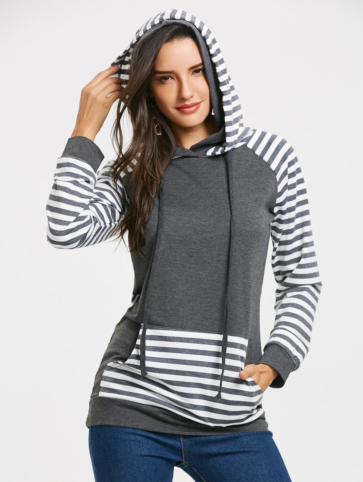 Hot Stripe Panel Raglan Sleeve Kangaroo Pocket Hoodie