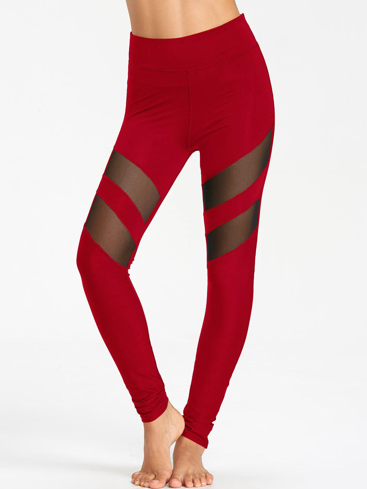 Latest High Waist Workout Leggings With Mesh Panel