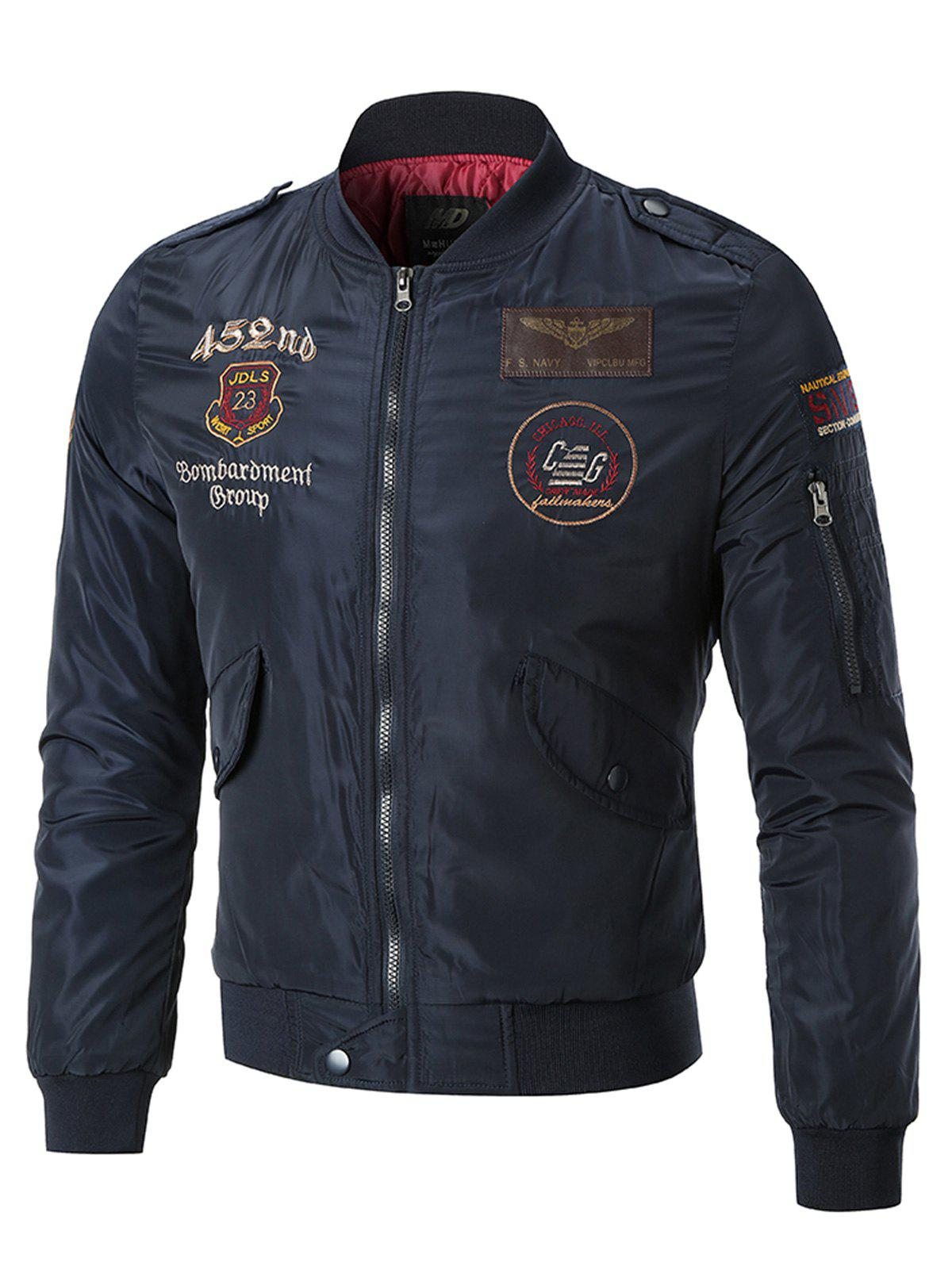 Store Sleeve Pocket Patches Embroidered Bomber Jacket