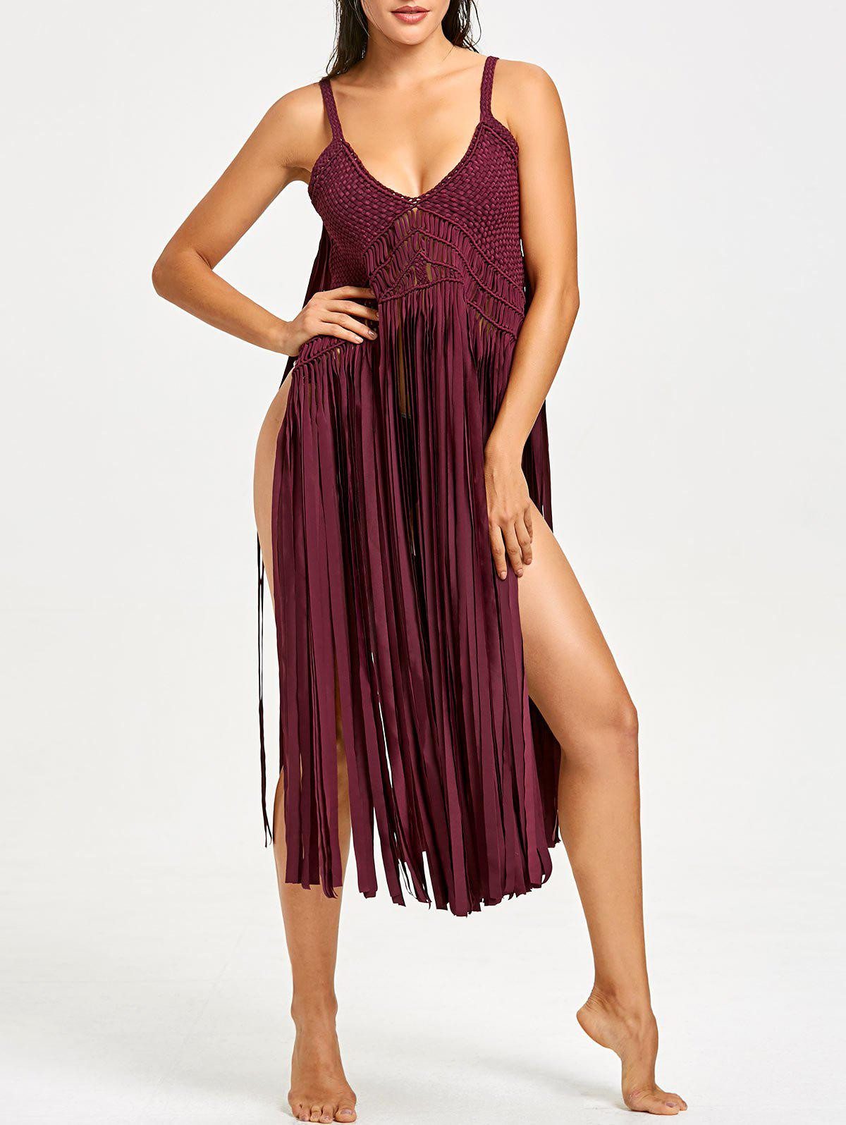 Shops Fringed Crochet Knit Cover-up with G-string