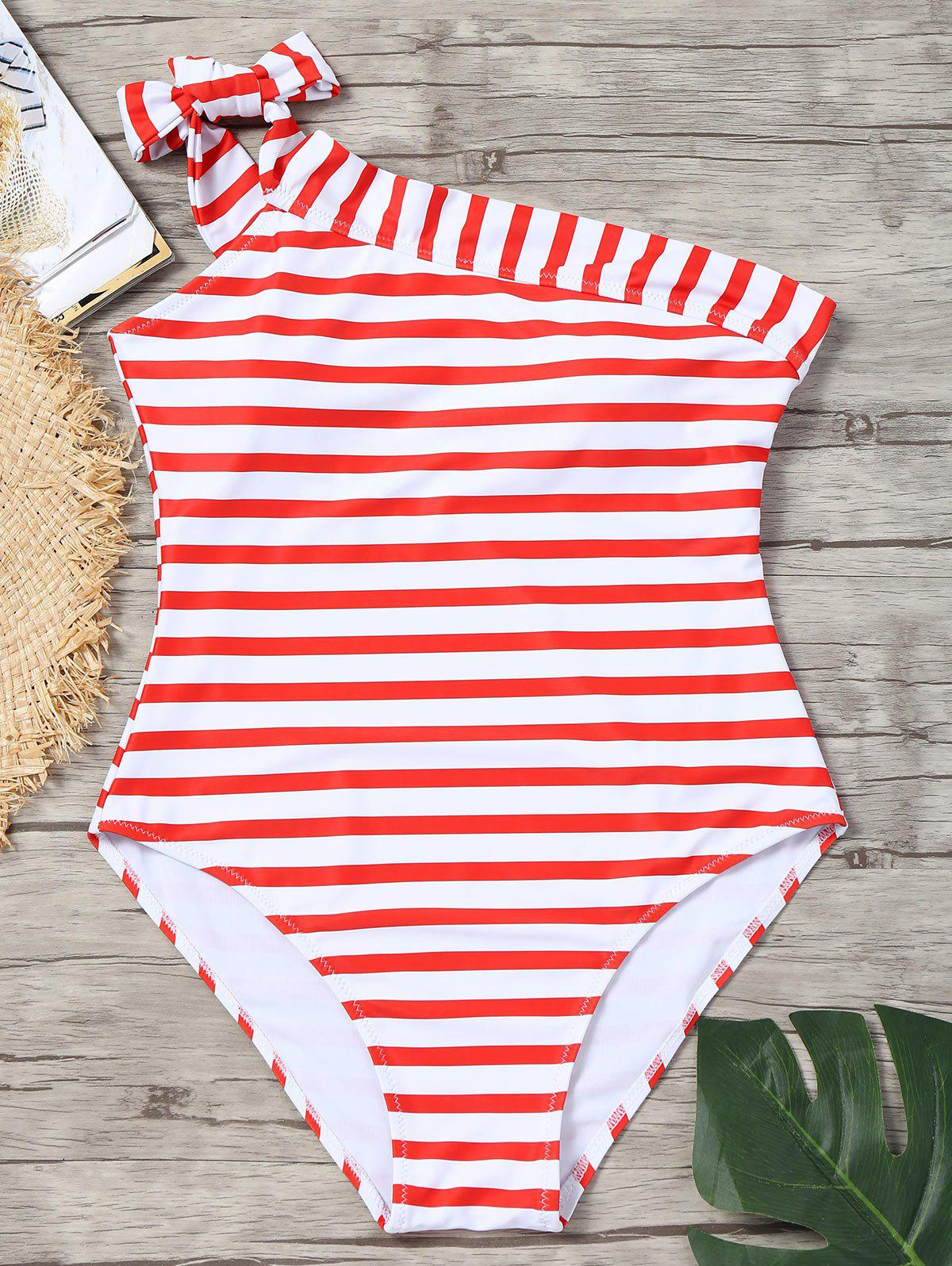 Chic Skew Collar Striped  Swimsuit