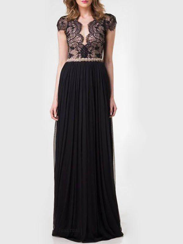 Hot Lace Panel Backless Pleated Maxi Dress