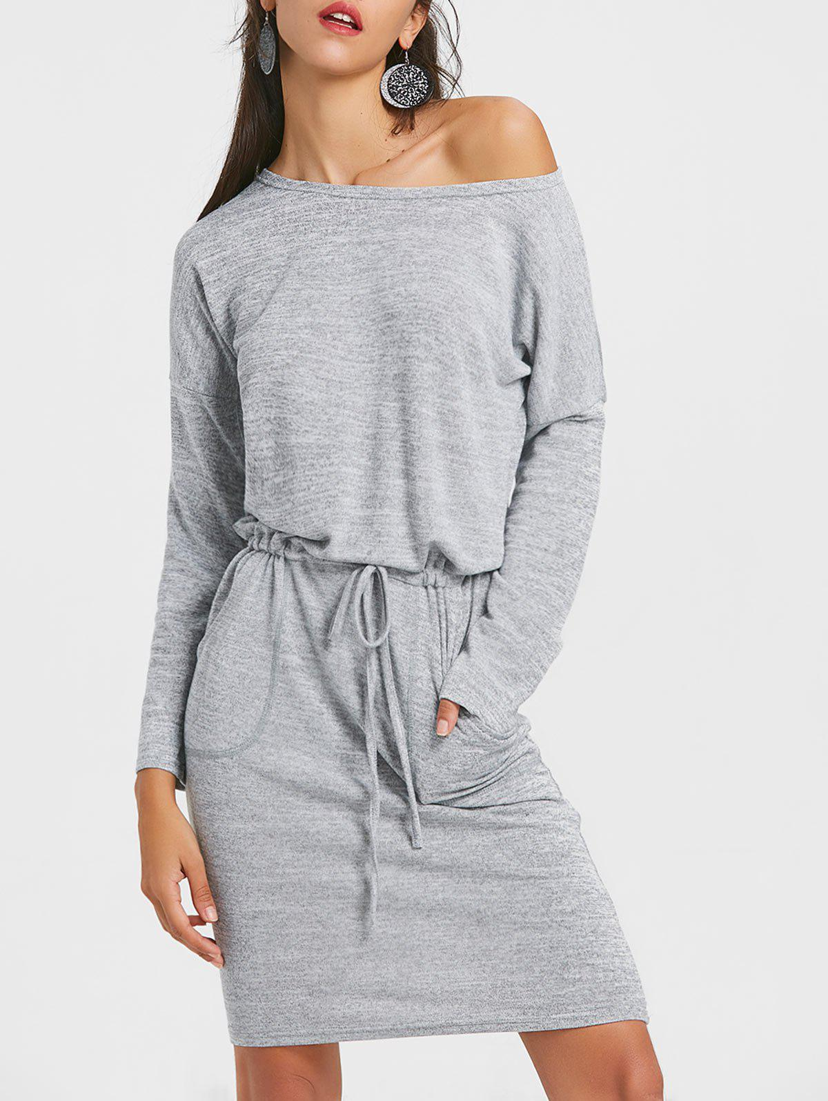 Outfits Drawstring Dolman Sleeve Heathered Casual Dress
