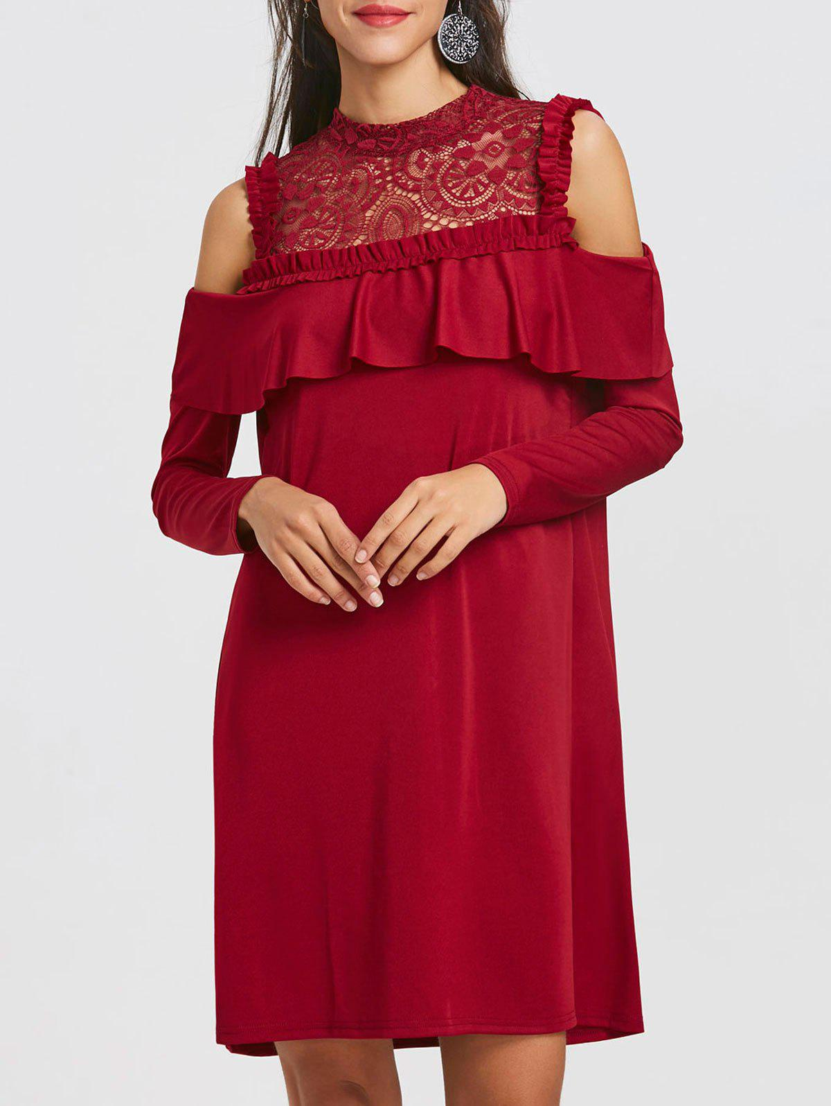 Best Long Sleeve Cold Shoulder Lace Yoke Dress