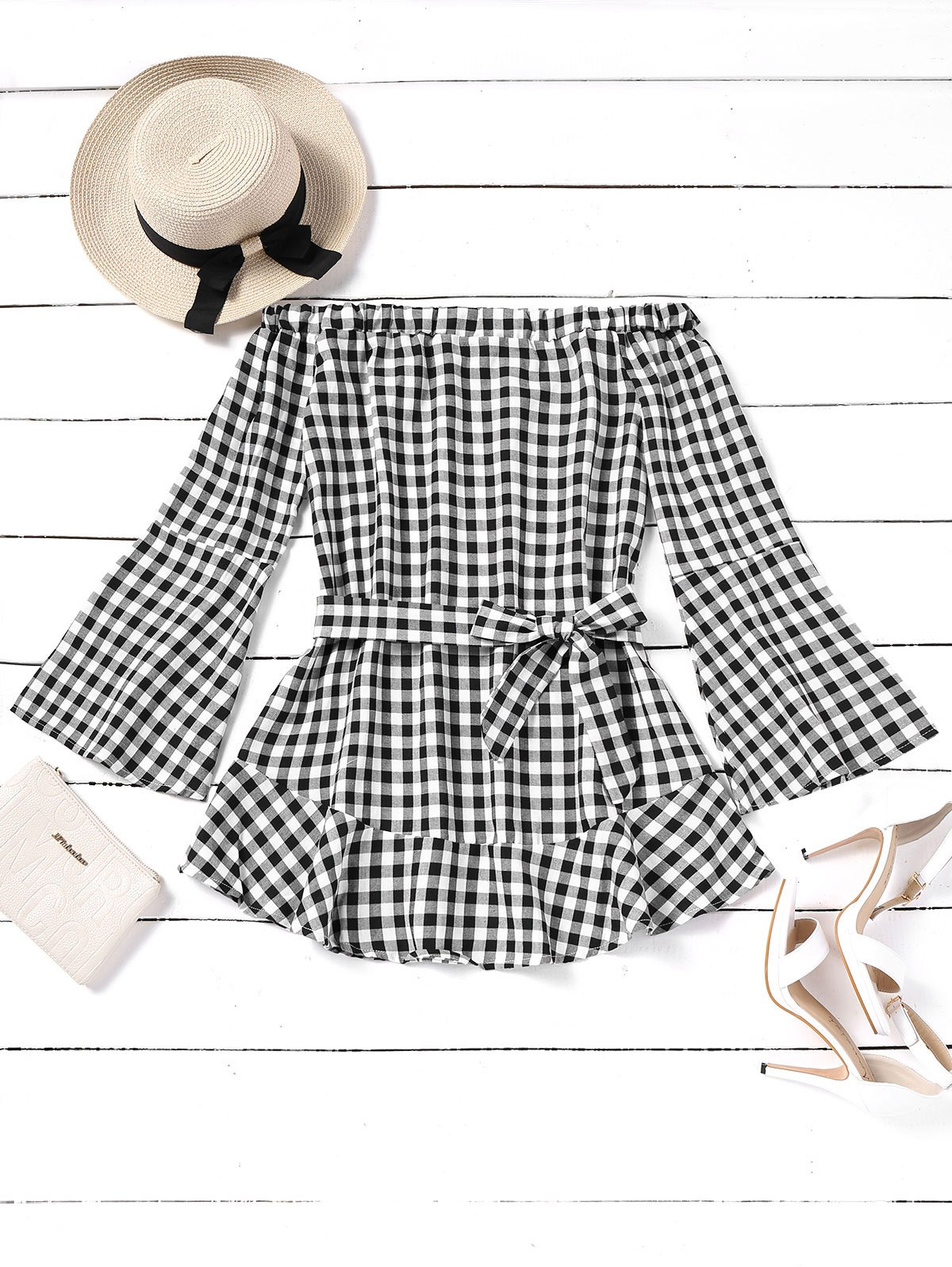 Cheap Plaid Off Shoulder Belted Mini Dress