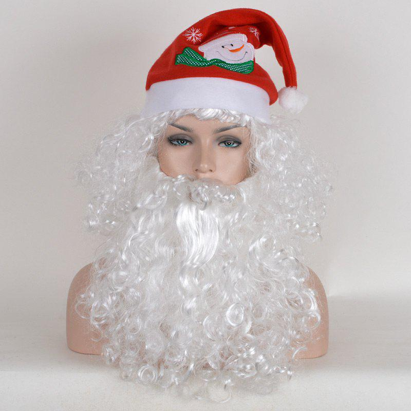 Sale Santa Claus Cosplay Short Fluffy Curly Synthetic Wig With Beard and Cap