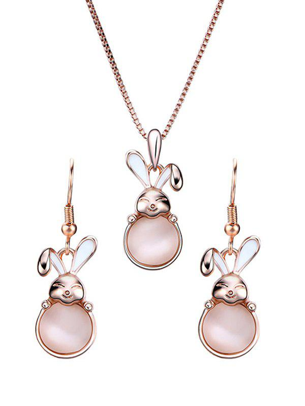 New Faux Gemstone Bunny Pendant Necklace with Earrings