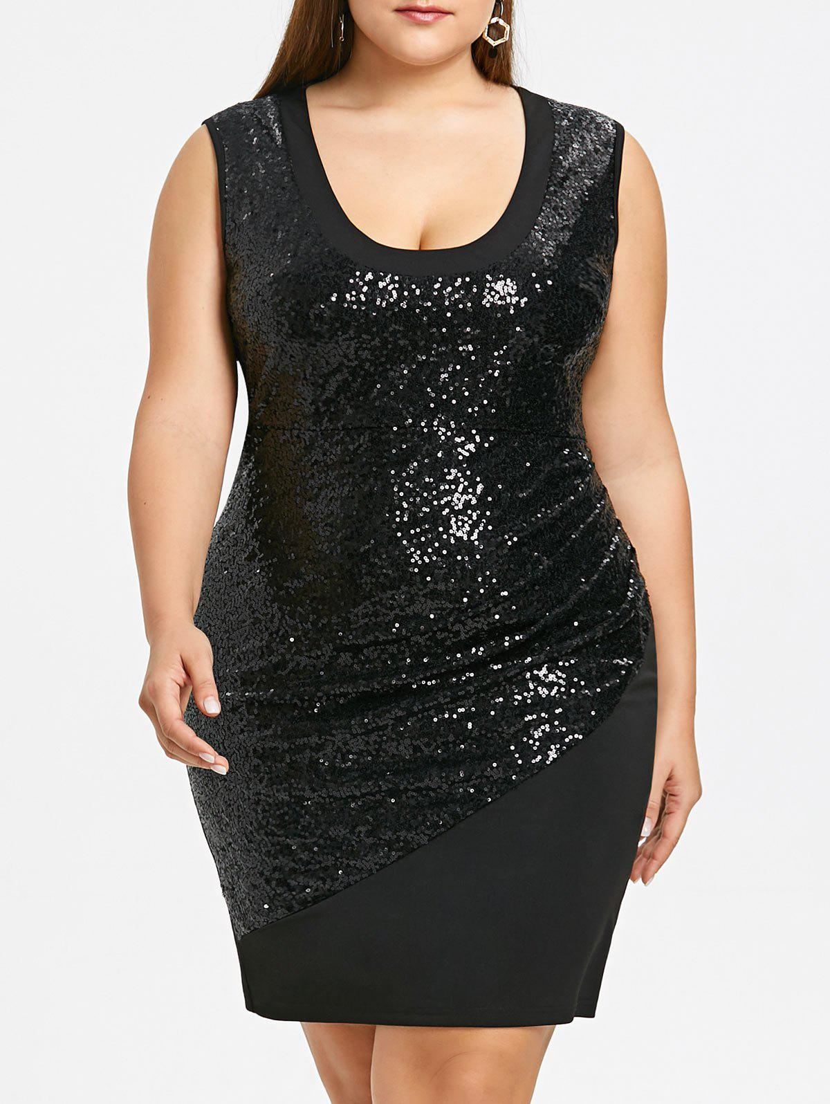Plus Size Sleeveless Glitter Sequins Sheath Dress