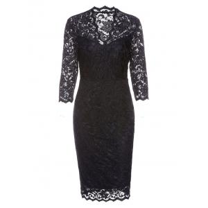 Formal V-neck Sheath Lace Dress -