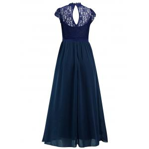 Back Cut Out Lace Panel Chiffon Dress -